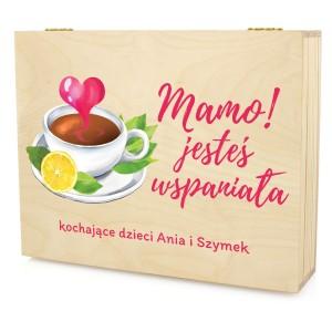 pudełko na herbatę z dedykacją jesteś wspaniała na prezent dla mamy