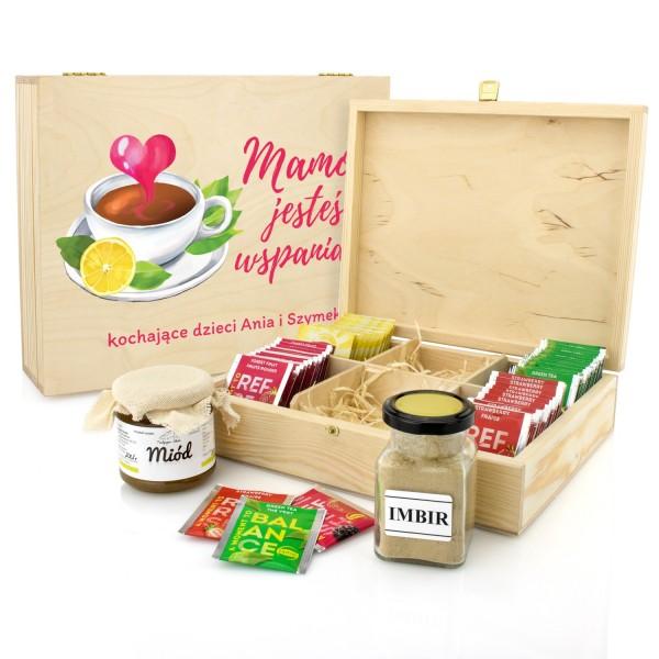 drewniana skrzynka na herbatę z miodem i imbirem jesteś wspaniała na prezent na dzień mamy