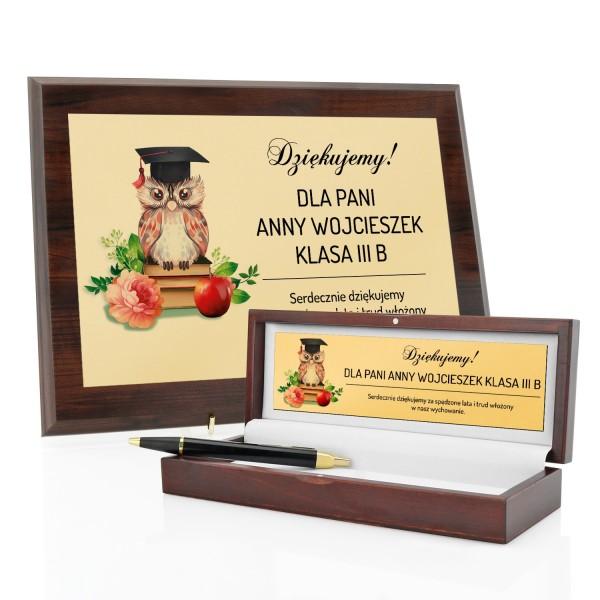 podziękowania dla nauczyciela dyplom i długopis parker w szkatułce z dedykacją