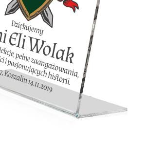 statuetka z plexi z nadrukiem na prezent dla nauczyciela