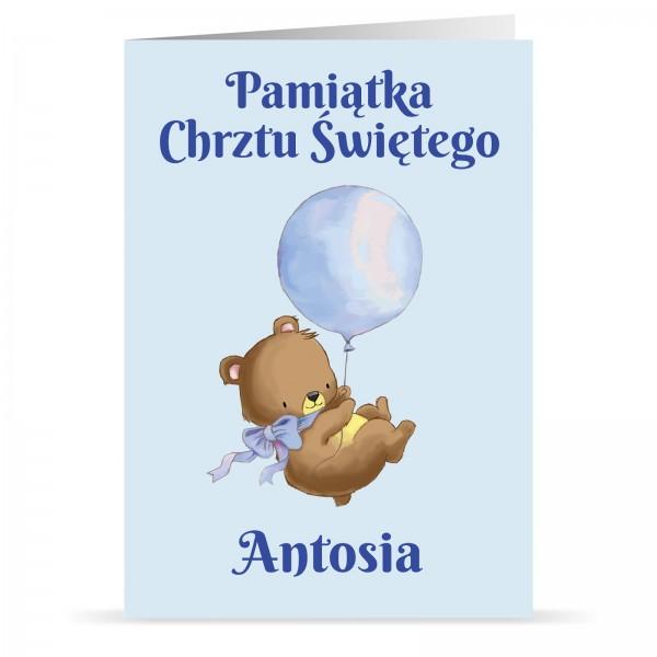 kartka na chrzciny z personalizacją dla chłopca miś