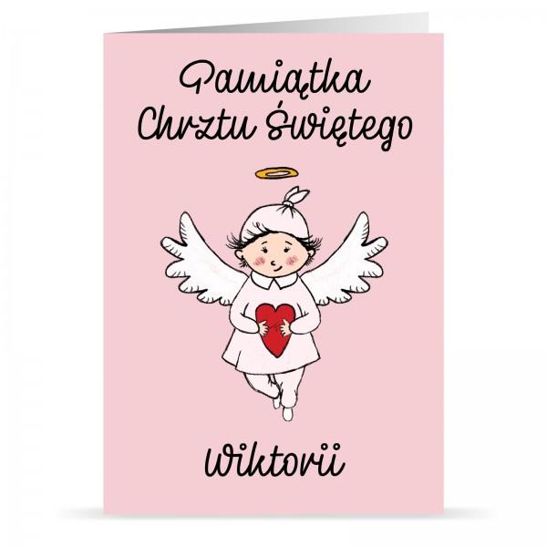kartka na chrzest z personalizacją dla dziewczynki aniołek z sercem