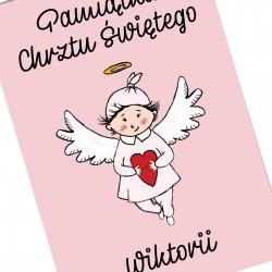 pamiątka chrztu dla dziewczynki kartka z imieniem aniołek z sercem