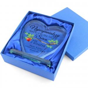szklane serce z dedykacją na prezent dla nauczyciela