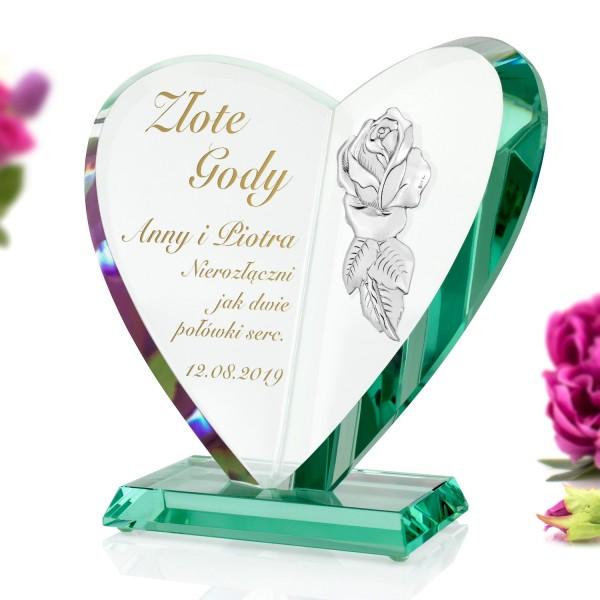 statuetka serce z grawerem dedykacji na na 50 rocznicę ślubu