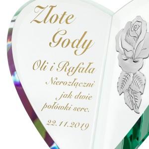 serce ze szkła z grawerem na prezent na złote gody