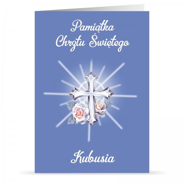 kartka na chrzest z imieniem dla chłopca krzyż z promieniami