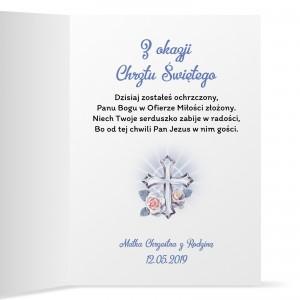 kartka na chrzciny z personalizowanymi życzeniami krzyż z promieniami
