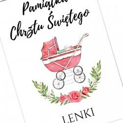 pamiątka chrztu świętego dla dziewczynki kartka z imieniem wózeczek