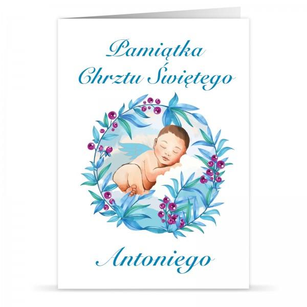 pamiątka chrztu świętego kartka z imieniem dla chłopca aniołek