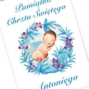 kartka na chrzciny dla chłopca z personalizacją aniołek