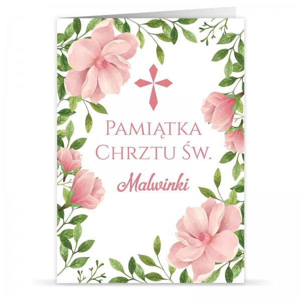 kartka z okazji chrztu świętego dla dziewczynki kwiatowa