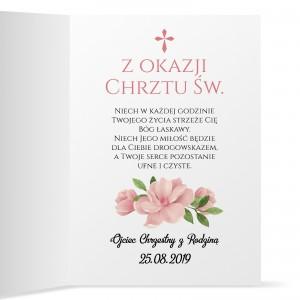 kartka z życzeniami na prezent na chrzest dla dziewczynki