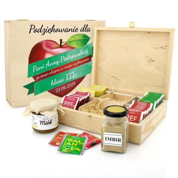 zestaw herbat w skrzynce z imbirem i miodem na prezent dla wychowawcy jabłkowe serce