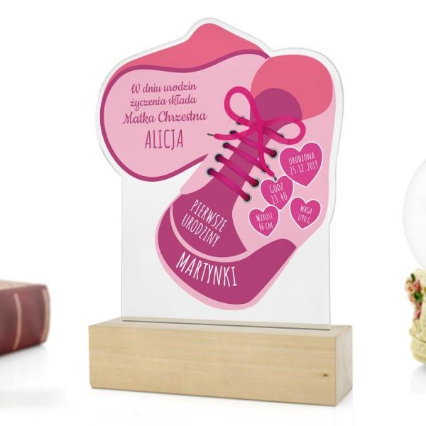 statuetka z dedykacją na prezent na roczek dla dziewczynki różowe buciki