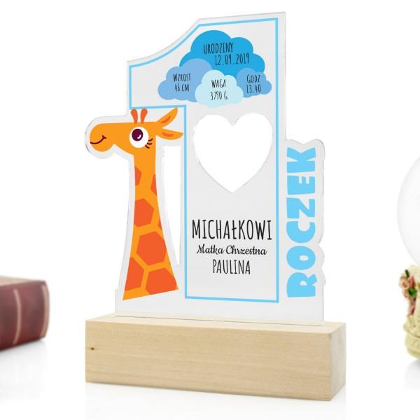 statuetka z nadrukiem na prezent na pierwsze urodziny dla chłopca żyrafka