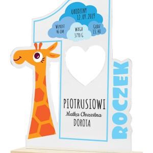 oryginalny prezent na roczek statuetka z dedykacją żyrafka