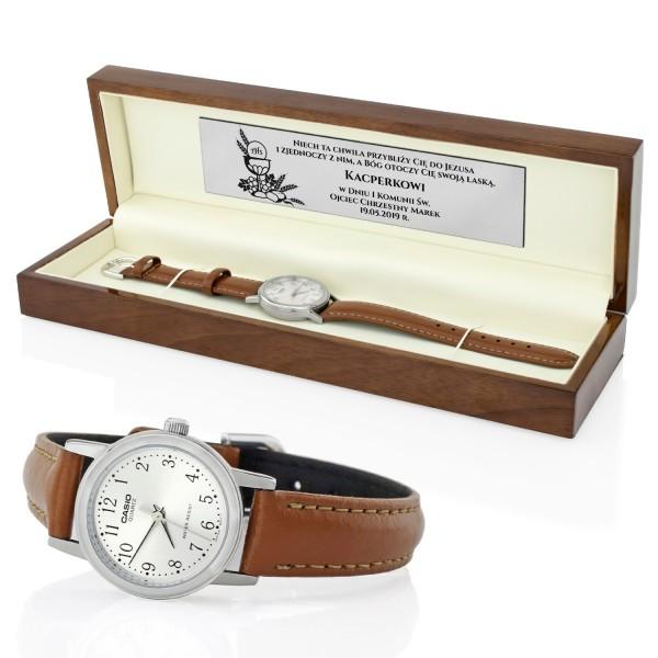 zegarek męski w pudełku z dedykacją na pamiątkę pierwszej komunii