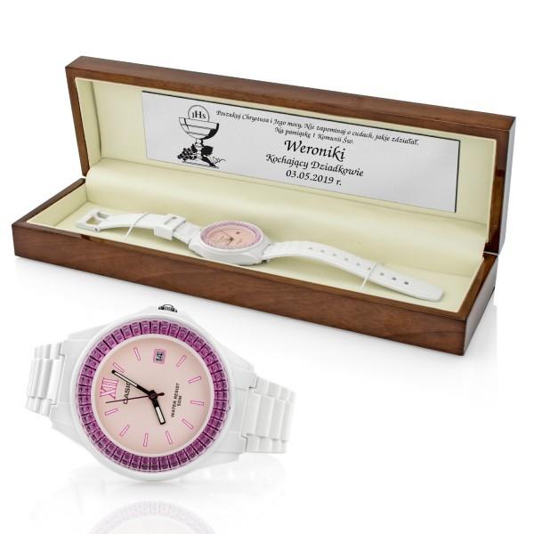 pamiątka komunijna zegarek na rękę w pudełku z dedykacją