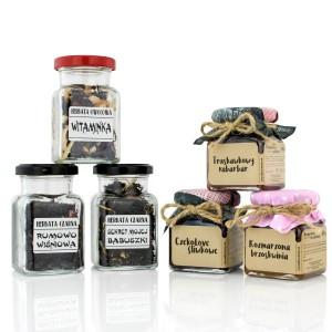 zestaw naturalnych konfitur i herbat w słoiczkach na prezent dla nauczycielki