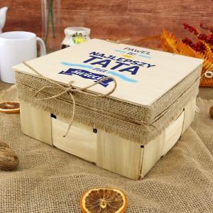 drewniane pudełko z dedykacją na upominek dla taty