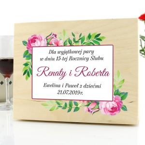 skrzynka na upominki z dedykacją na prezent na rocznicę ślubu piwonie