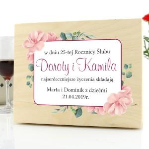 prezent na 25 rocznicę ślubu drewniana skrzynka z nadrukiem magnolie