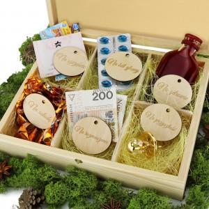 pudełko na upominki z przegródkami i dedykacją na prezent na ślub