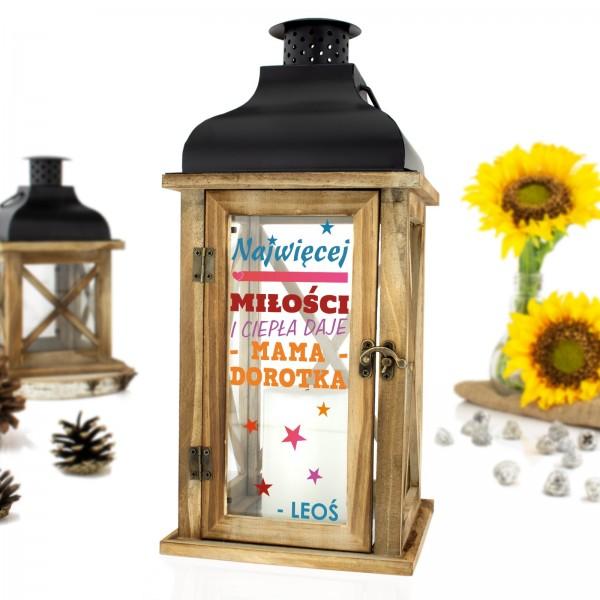 drewniany lampion z dedykacją na prezent dla mamy miłość i ciepło