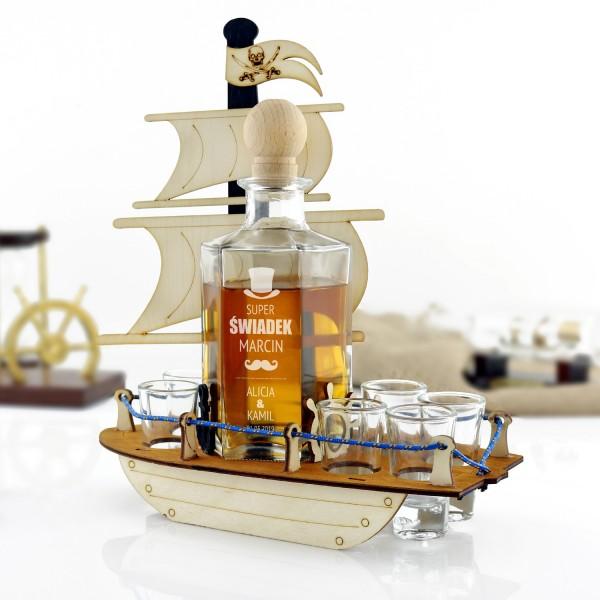 oryginalny prezent dla świadka karafka do whisky z grawerem i kieliszkami