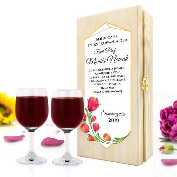 skrzynka na wino z kieliszkami na prezent dla promotora