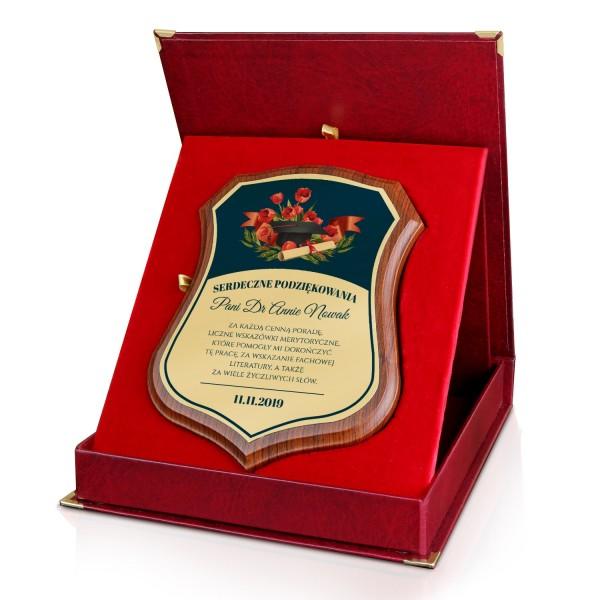 elegancki certyfikat z dedykacją na podziękowanie dla promotora