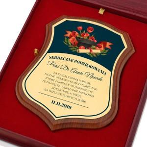 prezent dla promotora certyfikat w drewnie z dedykacją