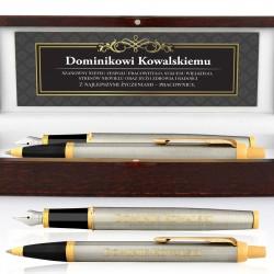 prezent dla szefa długopis i pióro parker w etui z dedykacją