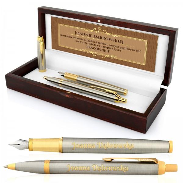 długopis i pióro Parker w etui z grawerem dla szefowej