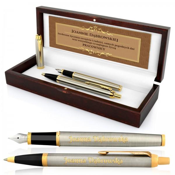 długopis i pióro parker z grawerem w drewnianym pudełku classic style