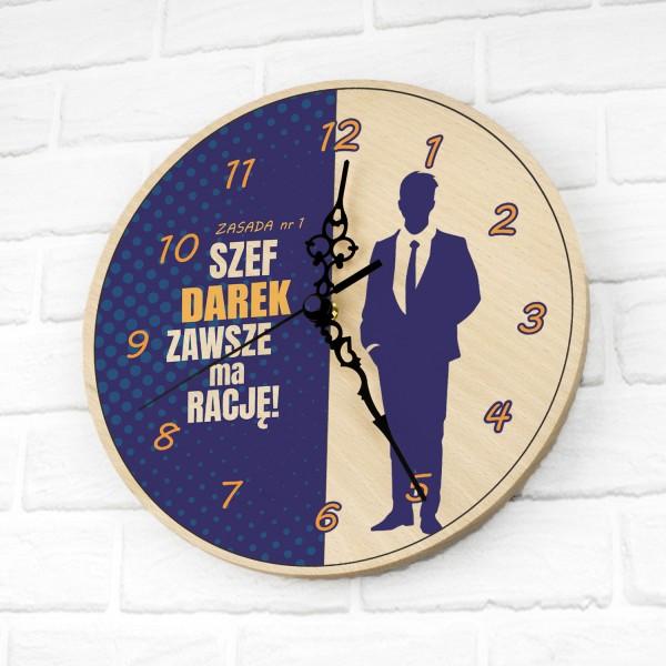personalizowany zegar ścienny na prezent dla szefa żelazna zasada