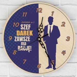spersonalizowany prezent dla szefa zegar z dedykacją żelazna zasada