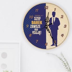 zegar ścienny z nadrukiem żelazna zasada na śmieszny prezent dla szefa