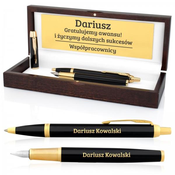 pióro i długopis parker z grawerem w drewnianym etui na gratulacje z okazji awansu