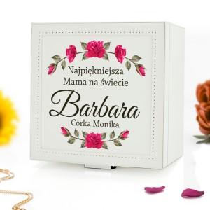 skórzany kuferek na biżuterię z nadrukiem na prezent dla mamy najpiękniejsza