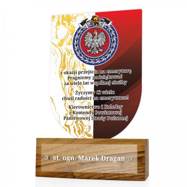 statuetka z dedykacją na prezent dla strażaka
