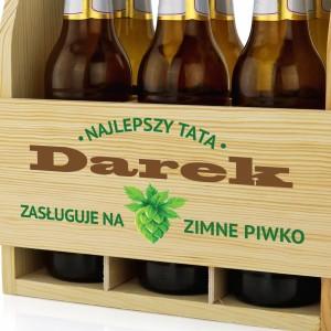 drewniana skrzynka na piwo na prezent dla taty zimne piwko