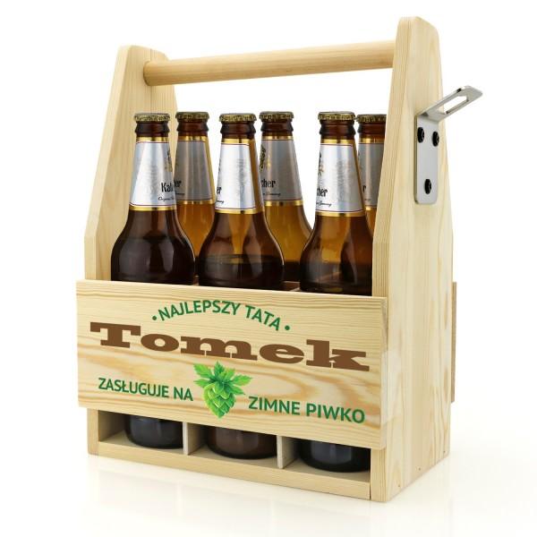 skrzynka z nadrukiem imienia nosidło na piwo