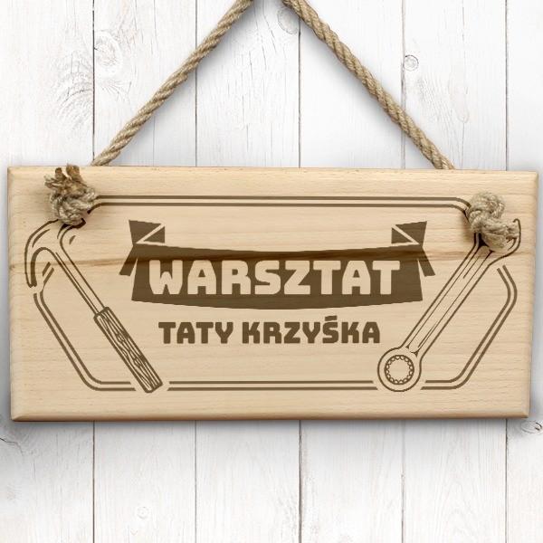 tabliczki na drzwi z grawerem na prezent dla taty warsztat