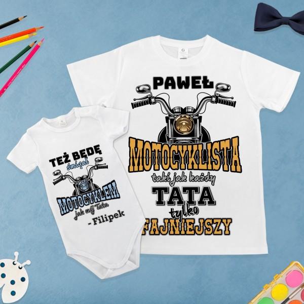 koszulka dla taty i body dla syna z własnym nadrukiem motocyklowy team na prezent dla taty
