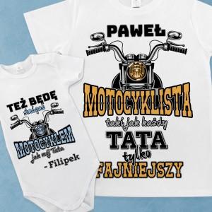zestaw koszulka dla taty i body dla syna z nadrukiem motocyklowy team na prezent na dzień taty
