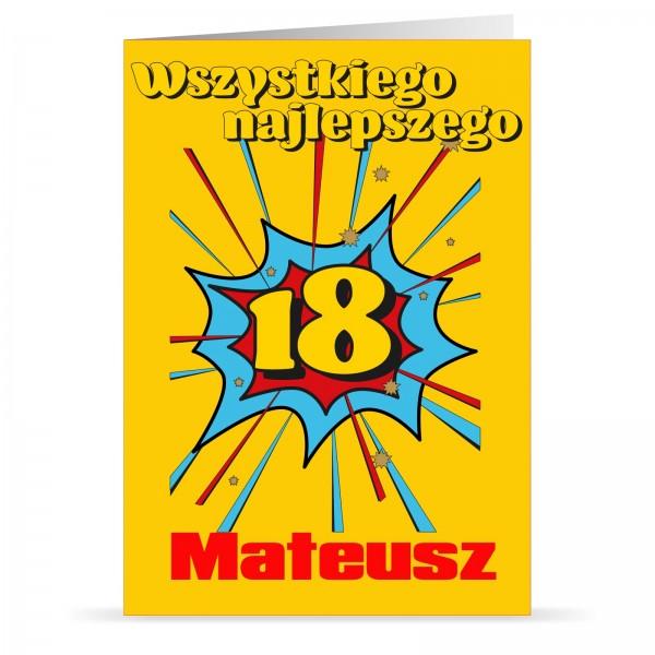 kartka urodzinowa z imieniem na prezent na 18