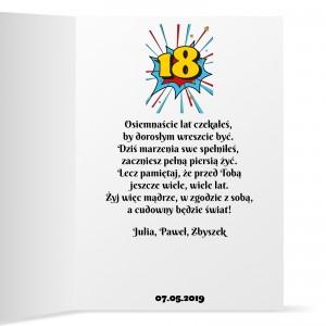 prezent na osiemnastkę kartka personalizowana z życzeniami
