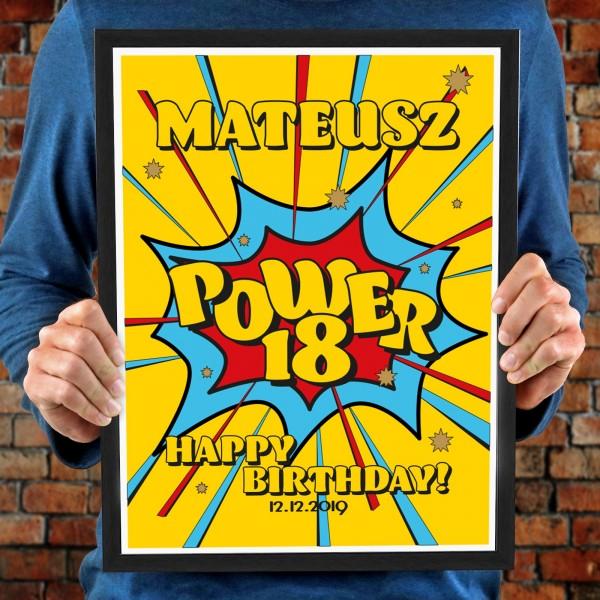 plakat na 18 urodziny dla niego wystrzałowe urodziny